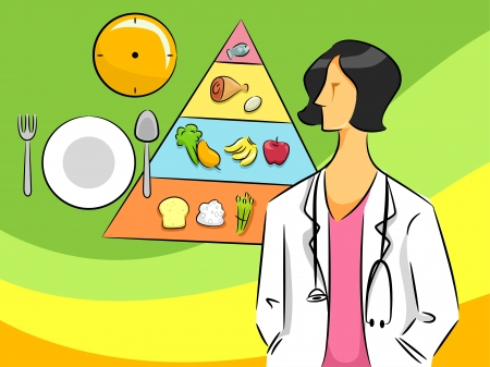 dietitian: Cartoon Illustration of a Nutritionist Woman Stock Photo