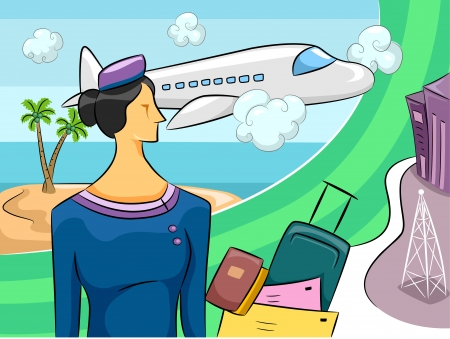 student travel: Cartoon Illustration of a Woman in a Stewardess Outfit