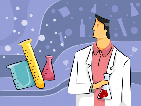 experimenting: Illustration of a Male Chemist Conducting Research by Experimenting with Chemicals