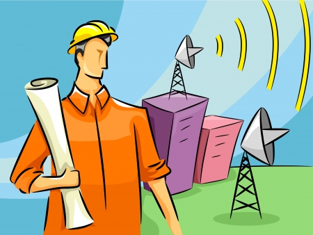 radio mast: Illustration of a Male Communications Engineer Standing Near a Broadcast Tower Stock Photo