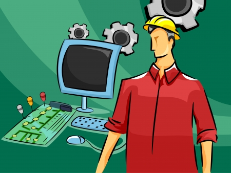 setup man: Illustration of a Male Computer Engineer Standing Beside a Computer, a Console, and a Keyboard Stock Photo