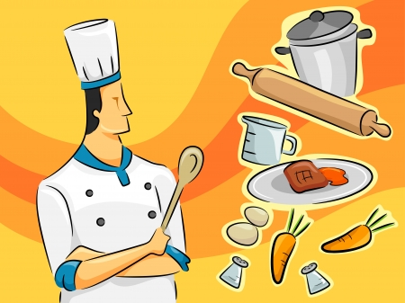 jobs cartoon: Illustration of a Male Chef Standing Beside a Group of Cooking Equipment and Ingredients