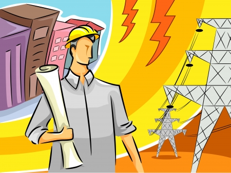 electrical engineer: Illustration of an Electrical Engineer Standing Near Transmission Towers