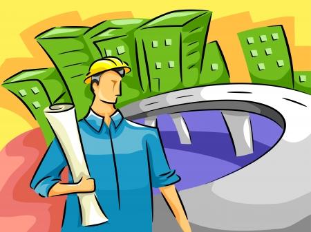 ingeniero civil: Ilustraci�n de un Ingeniero Civil Masculino Llevar un Plan Permanente por el lado de la carretera