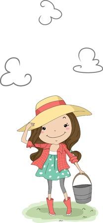 country girl: Illustration d'une jeune fille portant un seau Pays