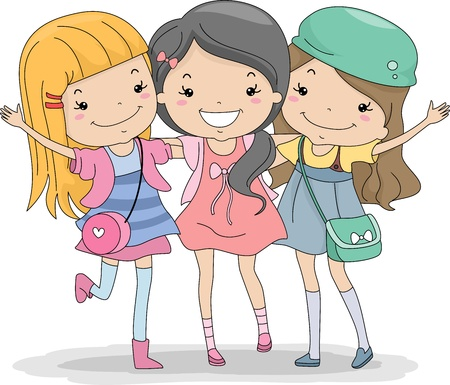 girlfriends: Illustration of a Group of Girls Huddled Together