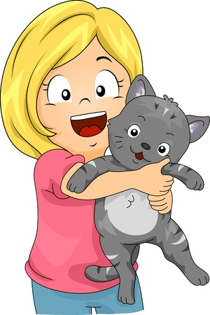 cat: Illustration of a Little Girl Hugging a Cat