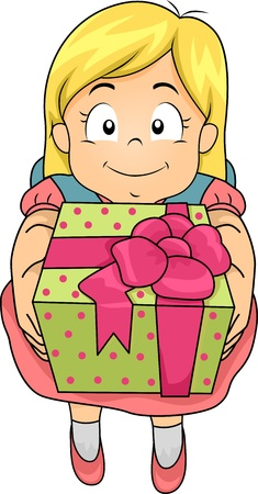 beautifully wrapped: Illustration of a Girl Holding a Gift in a Beautifully Wrapped Box