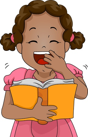 lol: Illustration of a Girl Laughing Out Loud While Reading a Book