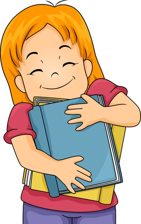 reading materials: Illustration of a Girl Hugging Books Stock Photo
