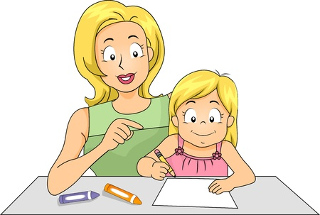 writing materials: Illustration of a Mother Teaching Her Daughter How to Write