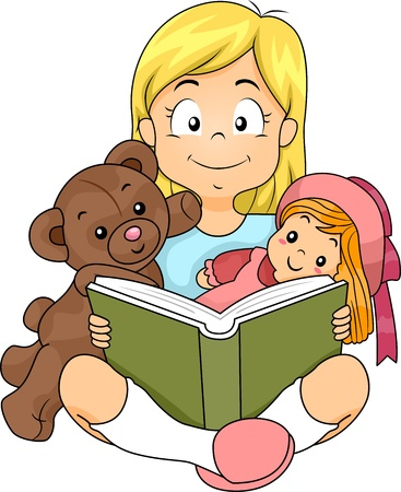 reading material: Illustration of a Girl Reading a Story to Her Toys