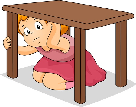scared: Illustration of a Girl Hiding Under a Table Stock Photo