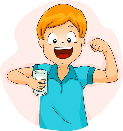 strong arm: Illustration of a Boy Demonstrating the Strength of His Bicep After Drinking Milk