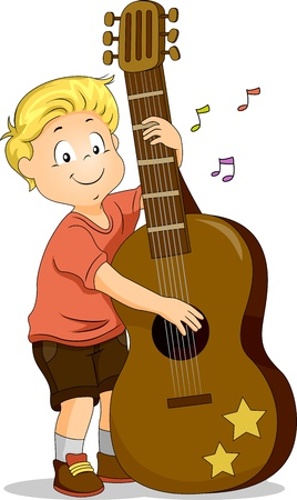 Illustration of a Boy Strumming a Large Guitar illustration