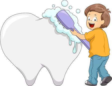 oral hygiene: Illustration of a Boy Using a Large Toothbrush to Clean a Giant Tooth