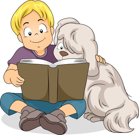child and dog: Illustration of a Boy Reading a Book Together with His Dog