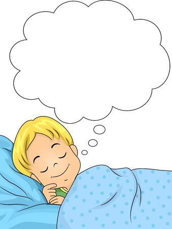 slumber: Illustration of a Dreaming Boy with a Smile on His Face