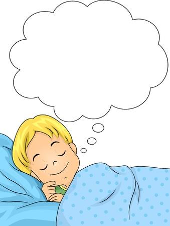 so�ando: Ilustraci�n de un muchacho So�ando con una sonrisa en su rostro