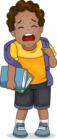 schooler: Illustration of an Exhausted Boy Trying to Catch His Breath Stock Photo