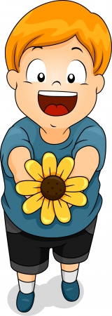 suitor: Illustration of a Smiling Boy Offering a Sunflower
