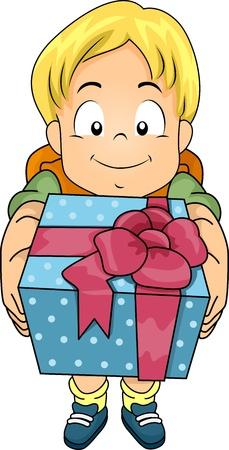 Illustration of a Boy Holding a Gift in a Beautifully Wrapped Box illustration
