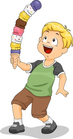 Illustration of a Boy Holding a Tower of Ice Cream illustration