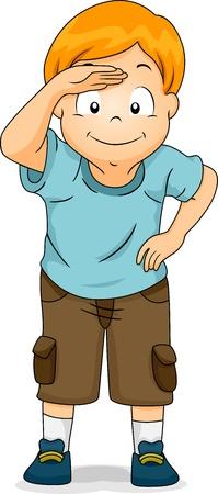 Illustratie van een jongen met zijn hand in de buurt Zijn Voorhoofd alsof zoek naar iets Stockfoto