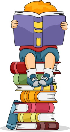 children book: Illustration of a Boy Reading a Book While Sitting on a Pile of Other Books