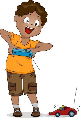 Illustration of a Boy Playing with a Remote-controlled Car illustration