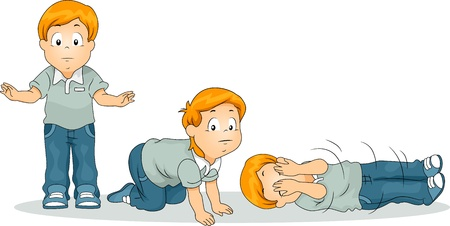 drill: Illustration of a Boy Demonstrating the Stop Drop Roll Exercise Commonly Used in Fire Drills