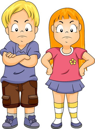 angry boy: Illustration of a Boy with His Arms Crossed and a Girl with Her Arms on Her Waist