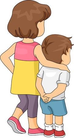 Illustration of a Boy Being Led by His Elder Sister illustration