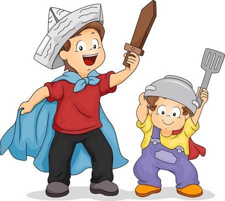 playmates: Ilustración de un muchacho que juega un juego de espada con su hermano menor