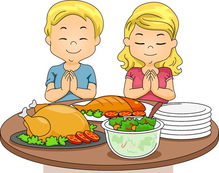 personas orando: Ilustración de un niño y una niña Orar antes de comer Foto de archivo