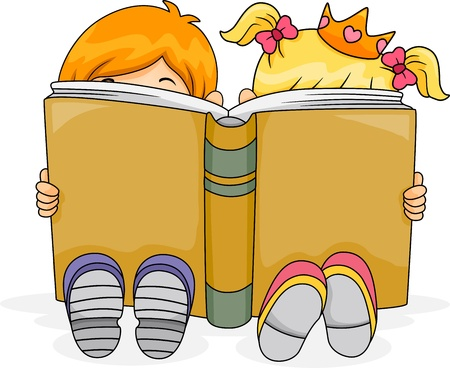 kids reading book: Illustration of a Boy and a Girl Reading a Fantasy Book Together