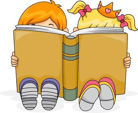 niños leyendo: Ilustración de un niño y una niña que lee un libro Fantasy Juntos Foto de archivo