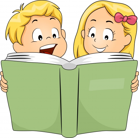 brother and sister cartoon: Illustration of Siblings Reading a Book Together,