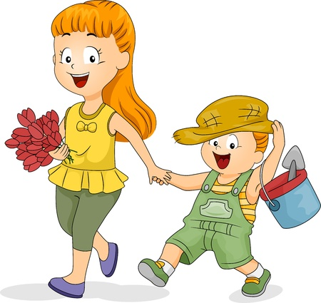 Illustration of a Girl Taking Her Younger Brother Gardening illustration