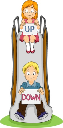 playmates: Illustration of a Boy and a Girl in a Slide Holding Signs That Say Up and Down