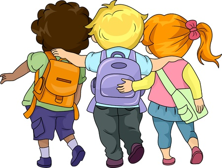children school clip art: Illustration of Kids Walking to School Together