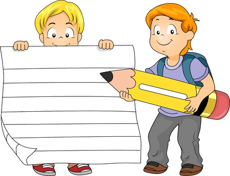 grade schooler: Illustration of a Boy Holding a Piece of Ruled Paper While Another Boy Holds a Pencil Stock Photo