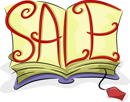 Illustration of an Open Book with the Word Sale Written Over it illustration
