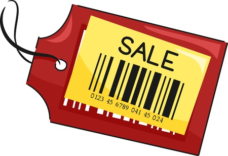 markdown: Illustration of a Price Tag with the Word Sale Written on It Stock Photo