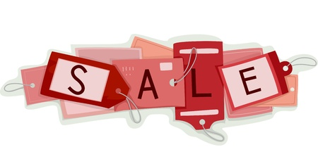 Illustration of Price Tags with the Word Sale Written on Them Stock Illustration - 17291060