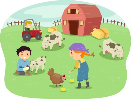 husbandry: Illustration of Kids Wearing Farmhand Outfits Tending to Animals in a Ranch