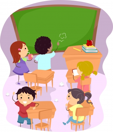Illustration of School Children Making a Mess Out of a Classroom illustration