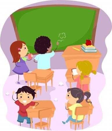 disorder: Ilustraci�n de los ni�os de la escuela haciendo un l�o fuera de un aula Foto de archivo