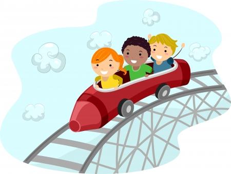 Illustration of Kids Riding a Crayon Shaped Roller Coaster Car illustration