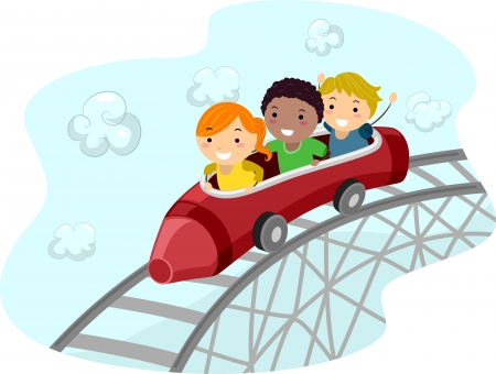 rollercoaster: Illustration of Kids Riding a Crayon Shaped Roller Coaster Car Stock Photo
